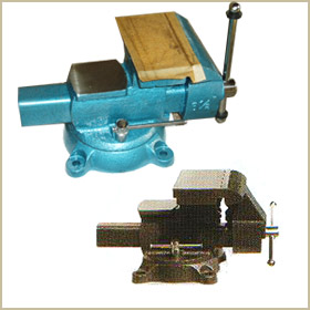 reversible bench vise with swivel base